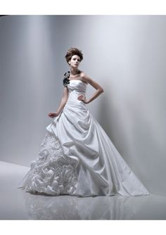 Removable Beaded One-Shoulder Strap A-Line Lucky Wedding Dress