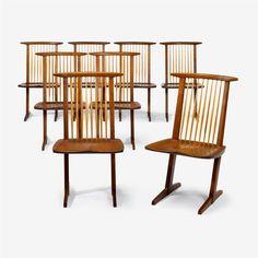 George Nakashima (1905-1990)   Set of Eight Conoid Dining Chairs, 1964/65 #FreemansAuction