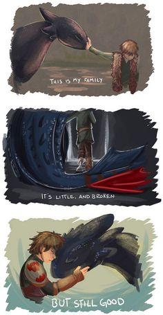 very nice crossover fan art ~ Hiccup & Toothless from HTTYD mashed with quote from Disney's Lilo and Stitch