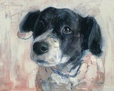 """""""Stip"""" by Pieter Pander. Charming subject with an interesting palette - dog painting Black And White Dog, Dog Illustration, Art Graphique, Dog Portraits, Portrait Art, Animal Paintings, Dog Art, Painting Inspiration, Painting & Drawing"""