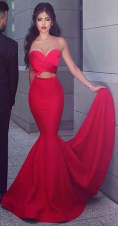 Sweetheart Prom Dress,Mermaid Prom Dress,Red Prom Dress,Fashion Prom