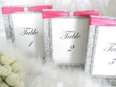 table number holders for weddings Red Silver Wedding, Pink Silver Weddings, Fuschia Wedding, Silver Wedding Decorations, Hot Pink Weddings, Prom Decor, Bridal Shower Decorations, Bridal Shower Favors, Wedding Centerpieces