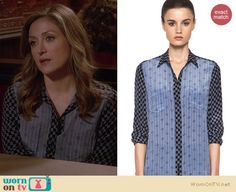 Maura's blue multi-print shirt on Rizzoli and Isles. Outfit Details: http://wornontv.net/18791