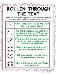 Non-Fiction Text Response Game. Perfect for centers!