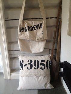 Veske og pute laget av gammelt seil og stofftrykk: N-3950 Old Chest, Reusable Tote Bags, Homemade, Projects, Kids, Log Projects, Young Children, Boys, Home Made