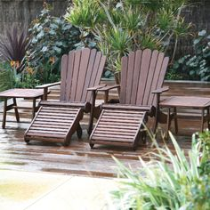 The classic Adirondack Chair from Jensen Leisure Furniture made out of environmentally friendly Ipe wood from Bolivia.