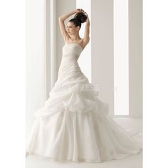 Glorious Strapless A line Organza With Beading Chapel Train Wedding Dress