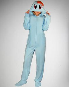 My Little Pony Rainbow Dash Footed Hooded Adult Pajamas i have no clue why.....but I want this.