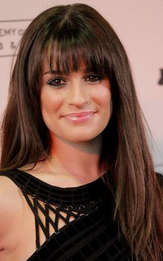 Lea Michele Long Straight Cut with Bangs - Long Straight Cut with Bangs Lookbook - StyleBistro