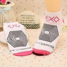 Hot-NEW-Flossy-Exo-one-pair-LUHAN-KRIS-DO-CHEN-BAEK-HYUN-overdose-Socks-Kpop-LAM ($0.99)
