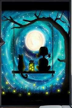 Blue swirled moon with lighting bugs, cat and girl on tree swing. Cute beginner painting idea.