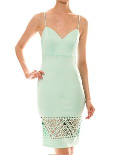 Mint Bodycon V Neck Dress with Cutouts | USTrendy