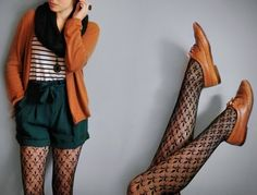 autumn fashion, earth tone vintage, short and tights always a good combination and this fine lace pattern ...so lovable!