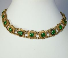 Vintage Art Deco Green Rhinestone Necklace Intricate Gold Tone Setting 215D #Unbranded #Choker