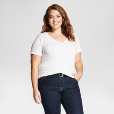 Women's Plus Size Short Sleeve Tee Fresh White 4X - Ava & Viv