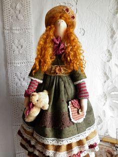 Купить Ханна... Винтажное бохо... - рыжий, коричневый, хакки, кукла ручной…