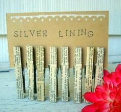 Party Frosting: BookClub book page clothes pins to use on gift bags
