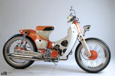 custom Orange Streetcub by Newspeed Garage Honda Cub, C90 Honda, Motos Honda, Honda Bikes, Scooter Motorcycle, Moto Bike, Honda Motorcycles, Vintage Motorcycles, Moto Quad