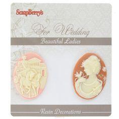 Камеи декоративные ScrapBerrys Прекрасные дамы, 2 шт