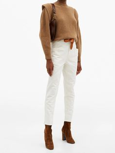 Jean Outfits, Chic Outfits, Fall Outfits, Cream Jeans, White Jeans Outfit, Neutral Outfit, Baby Girl Dresses, Slim Legs, Fall Trends