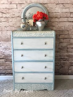 Vintage Painted Waterfall Dresser - paintable wallpaper on top and base. Really great idea. The colors would even match my decor. My Furniture, Recycled Furniture, Furniture Makeover, Painted Furniture, Waterfall Dresser, Paintable Wallpaper, Guest Bedrooms, Dresser As Nightstand, Bedroom Ideas