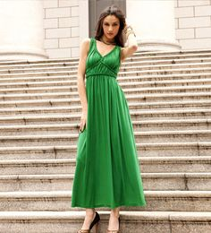 Green Braided Details Empire Waist Maxi Dress for only $34.99