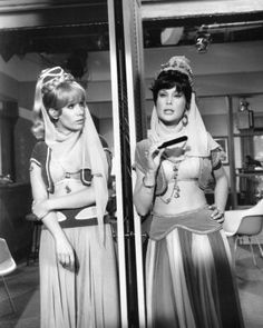 """Barbara Eden in a b/w shot from one of the few but famous split-screen episodes of """"I Dream of Jeannie,"""" where she plays both """"Jeannie"""" and """"Jeannie II"""" (her sister)."""