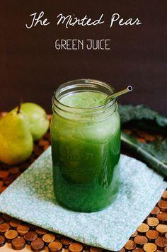 The Minted Pear Green Juice recipe 1 bunch of organic celery 2 danjou pears, sliced & cored 2 limes, peeled Handful of fresh mint 6 or so organic kale leaves. www.greennutrilabs.com
