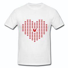 T-shirt Blanc France Coqs Cœur