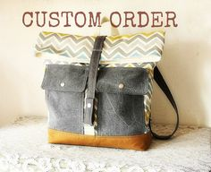 Reserved Foldover Canvas Backpack Handmade Back to by cindymars7