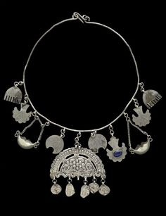 Woman or child's protective amulet necklace from the Kurdish people of Süleimaniye, Kurdistan, Iraq, Early 20th century Silver