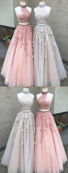 Dazzling Prom Dress,High-Neck Prom Dress,Long Two-Piece Applique Prom Dress,Lace Evening Dress #longpromdresses