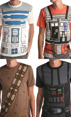 """Being the super Star Wars fan that I am, I was blown away when I saw these sweet character t-shirts from Wicked Clothes and felt the urge to share. Choose from Chewbacca, R2-D2, Darth Vader or Rebel Pilot."""