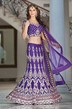 love the purple, hate the belly and arms purple India wedding sari Indian Attire, Indian Wear, India Fashion, Asian Fashion, Indian Dresses, Indian Outfits, Indian Clothes, Indie Mode, Indian Bridal Fashion