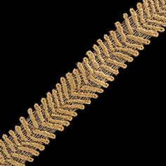 This Chevron Metallic Lace has a unique design which resembles the military fashion sense we all love. With its v-shaped design, it will add that fashionable military look to any jacket and/or blazer. The trim also features finished looped edges, and a thin thread running throughout the trim for easy cutting. The Chevron Metallic Lace is available in two metallic colors.