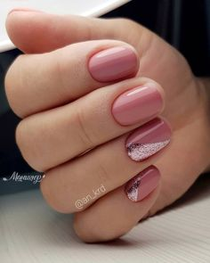 pink nails with glitter accent & pink nails . pink nails with glitter accent . pink nails with rhinestones . pink nails with glitter Classy Nail Designs, Pretty Nail Designs, Nail Art Designs, Nails Design, Short Nail Designs, Classy Nails, Stylish Nails, Simple Nails, Cute Nail Art