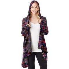 Plus Size Cuddl Duds Fleece Hooded Wrap Cardigan, Women's, Size: 2X/3X,