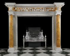 antique marble fireplace mantels.  Marble Fireplace of Palatial Size