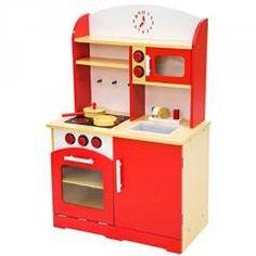 tectake cocina de madera de juguete para nios juguete juego de rol toy rojo