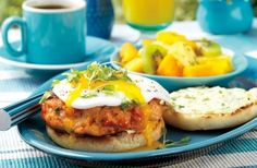 Smoked Salmon Burgers with Fried Eggs and Scallion Cream Cheese | Weber.com