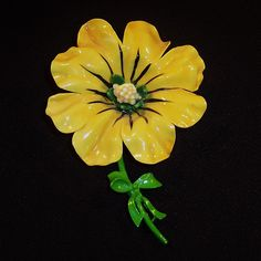 Large Vintage Sunny Yellow Plastic Flower Pin from ruthsredemptions on Ruby Lane