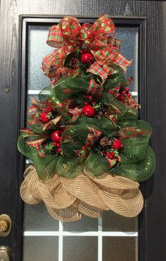 Items similar to Christmas Tree Wreath; Deco Mesh Christmas Tree Wreath…