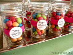 "Puppy/Dog birthday theme:  ""puppy vitamins"" or ""heart worm pills""  LOL!"