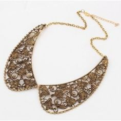 European Retro Vintage delicate openwork Collar Necklace Necklace Types, Collar Necklace, Crystal Necklace, Pendant Necklace, Peter Pan Collar Dress, Cheap Accessories, Shape Patterns, Types Of Metal, Gold Jewelry
