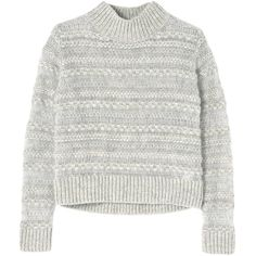 Rebecca Taylor Weaving Stripe Pullover ($159) ❤ liked on Polyvore featuring tops, sweaters, shirts, jumper, light grey heather, fuzzy sweaters, rebecca taylor sweater, mock neck sweater, loose fitting shirts and sweater pullover