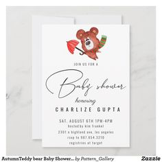 AutumnTeddy bear Baby Shower Invitation Baby Shower Invitation Cards, Baby Shower Invites For Girl, Rustic Invitations, Create Your Own Invitations, Colored Envelopes, Envelope Liners, Paper Texture, Bear, Pregnancy