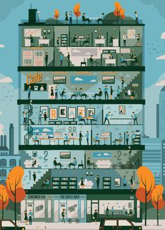 Co-Working By Neil Stevens Building Illustration, City Illustration, Digital Illustration, Contemporary Building, Co Working, You Draw, Diy Halloween Decorations, Easy Diy Crafts, Game Design