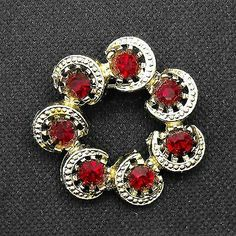 Vintage Red Rhinestone Crescents Brooch Wreath Circle Pin  | eBay