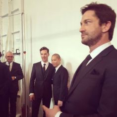Twitter / FashionCanada: Kind of the best shot ever backstage at @HUGO BOSS with Benedict Cumberbatch, Jason Wu and Gerard Butler #nyfw
