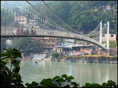Ram Jhula bridge in Rishikesh. I love walking across this bridge and looking down into the Ganges below. Beautiful place